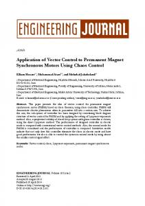 Application of Vector Control to Permanent Magnet Synchronous ...