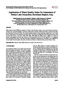Application of Water Quality Index for assessment of - Scientific ...
