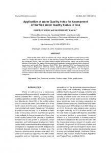 Application of Water Quality Index for Assessment of Surface Water ...