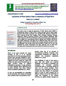 Application of Water Quality Index to Assessment of Tigris River