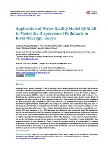 Application of Water Quality Model QUAL2K to Model the Dispersion