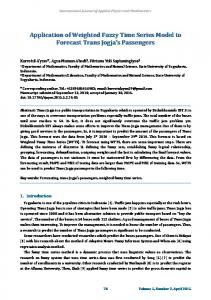 Application of Weighted Fuzzy Time Series Model to Forecast ... - ijapm