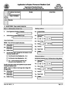 Application to Replace Permanent Resident Card - USCIS
