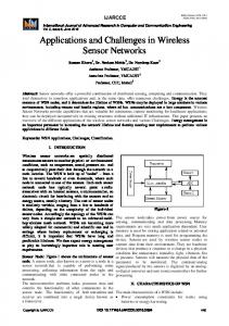 Applications and Challenges in Wireless Sensor ...