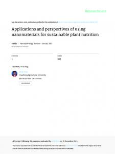 Applications and perspectives of using nanomaterials