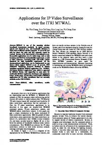 Applications for IP Video Surveillance over the ITRI ... - Semantic Scholar