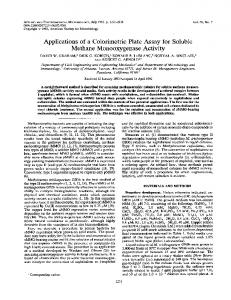 Applications of a Colorimetric Plate Assay for Soluble Methane ...