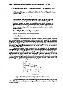 applications of chalcogenide glass optical fibers at nrl - Journal of ...