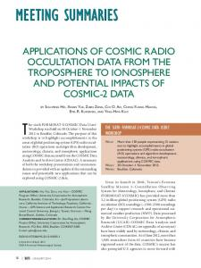 applications of cosmic radio occultation data from the troposphere to