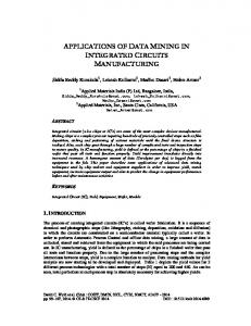 applications of data mining in integrated circuits manufacturing - AIRCC