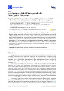Applications of Gold Nanoparticles in Non-Optical Biosensors - MDPI