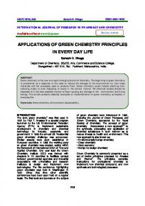 applications of green chemistry principles in every day life - ijrpc