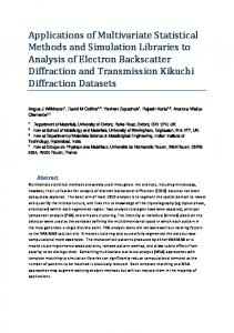 Applications of Multivariate Statistical Methods and Simulation ... - arXiv