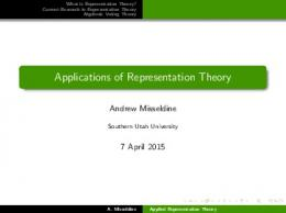 Applications of Representation Theory