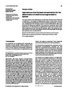 Applications of solid phase microextraction for ... - Wiley Online Library