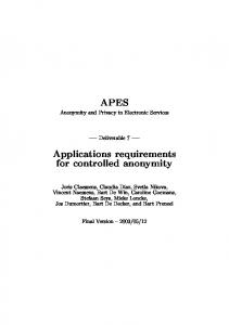 Applications requirements for controlled anonymity