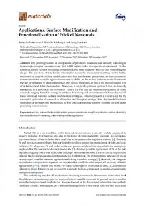 Applications, Surface Modification and Functionalization of ... - MDPI