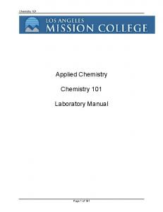 Applied Chemistry Chemistry 101 Laboratory Manual
