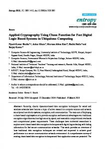 Applied Cryptography Using Chaos Function for Fast Digital ... - MDPI