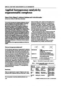 Applied homogeneous catalysis by organometallic complexes