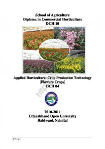 Applied Horticulture Crop Production Technology (Flower Crop)