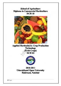 Applied Horticulture Crop Production Technology (Fruit crop)