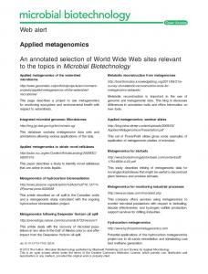 Applied metagenomics - Wiley Online Library