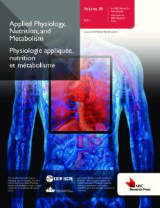 Applied Physiology, Nutrition, and Metabolism ... - NTU > IRep