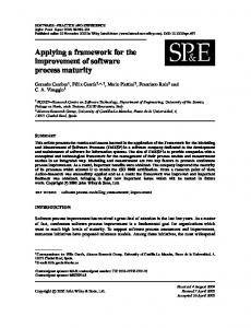 Applying a framework for the improvement of software process maturity