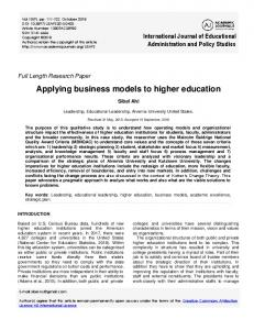 Applying business models to higher education - Eric