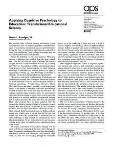 Applying Cognitive Psychology to Education - Psychological & Brain ...