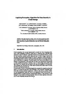Applying Encryption Algorithm for Data Security in Cloud Storage