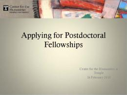 Applying for Postdoctoral Fellowships