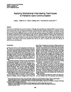 Applying Motivational Interviewing Techniques to Palliative Care ...