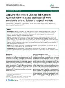 Applying the revised Chinese Job Content Questionnaire ... - CiteSeerX