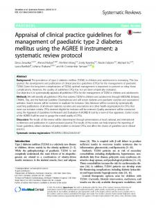 Appraisal of clinical practice guidelines for