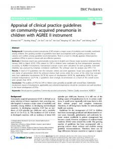 Appraisal of clinical practice guidelines on community ... - Springer Link