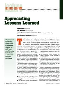 Appreciating Lessons Learned lessons learned