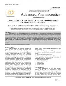 approaches for synthesis of silver nanoparticles from