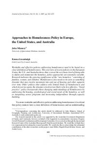Approaches to Homelessness Policy in Europe, the United States, and ...