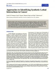 Approaches to Identifying Synthetic Lethal ... - Semantic Scholar