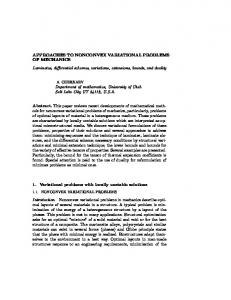 APPROACHES TO NONCONVEX VARIATIONAL PROBLEMS OF ...