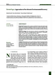 Approaches to Post-disaster Environmental Recovery - Health in ...
