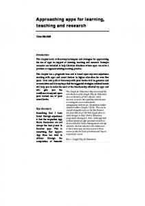Approaching apps for learning, teaching and research In: Middleton, A ...