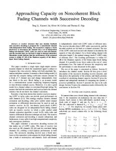 Approaching Capacity on Noncoherent Block Fading ... - CiteSeerX