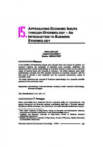 APPROACHING ECONOMIC ISSUES THROUGH EPIDEMIOLOGY ...