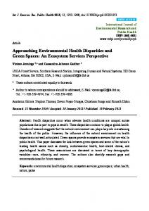 Approaching Environmental Health Disparities and Green ... - MDPI