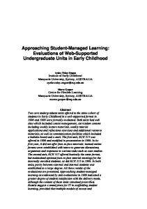 Approaching Student-Managed Learning: Evaluations of Web ...