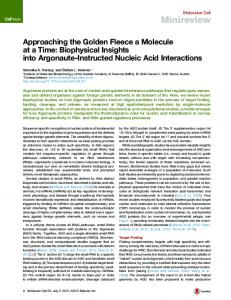 Approaching the Golden Fleece a Molecule at a Time: Biophysical ...