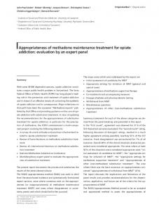 Appropriateness of methadone maintenance treatment ... - Springer Link